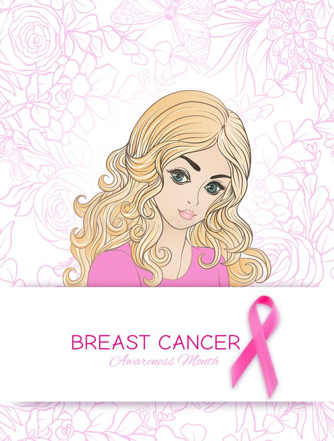 Cartaz do mês da conscientização do câncer da mama com o retrato cor-de-rosa da fita e das mulheres ilustração stock