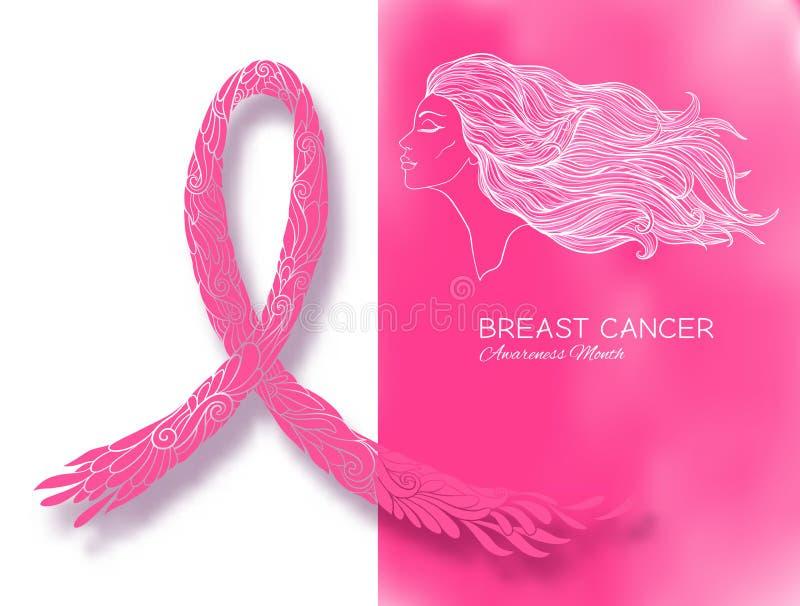 Cartaz do mês da conscientização do câncer da mama com o retrato cor-de-rosa da fita e das mulheres ilustração do vetor