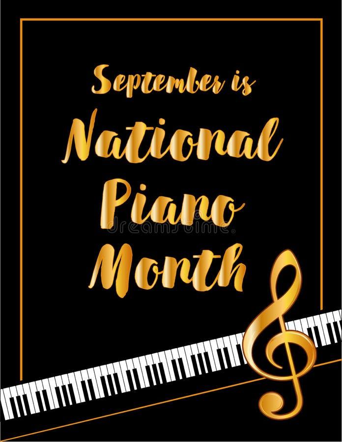 Cartaz do mês do piano, setembro ilustração stock