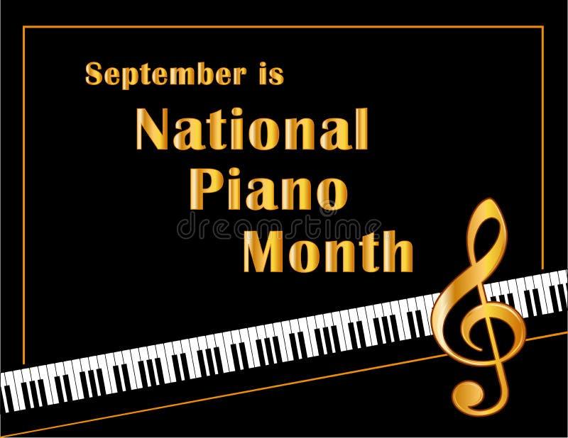 Cartaz do mês do piano, setembro ilustração royalty free