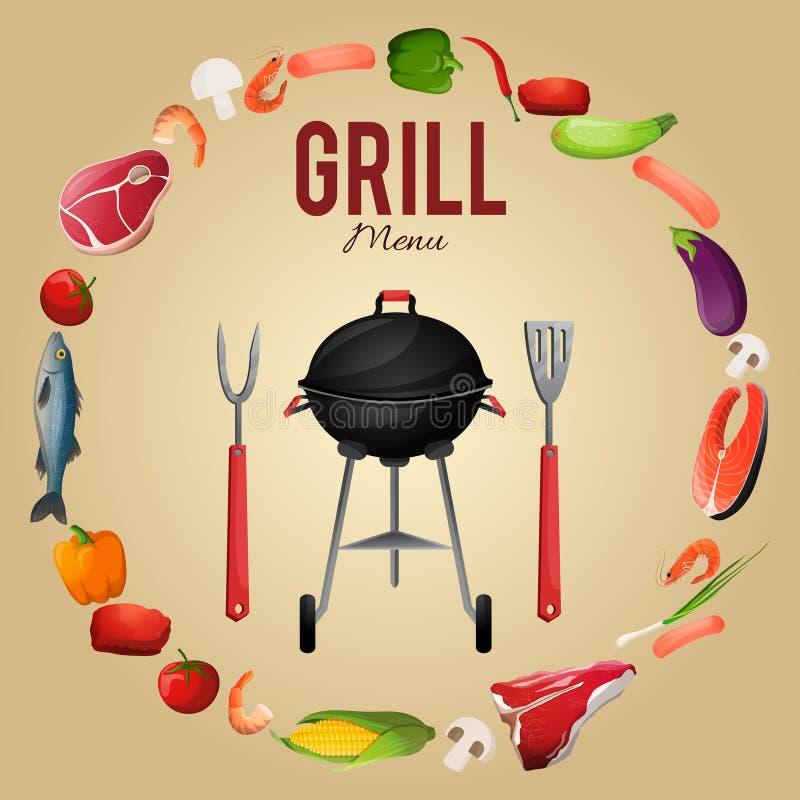 Cartaz do menu do BBQ ilustração stock