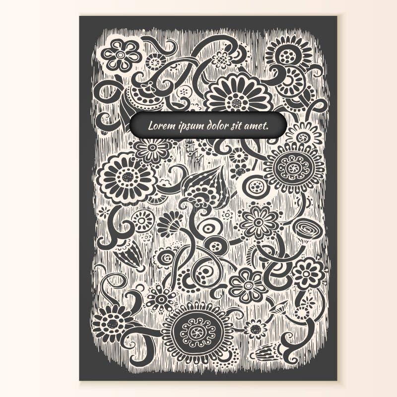 Cartaz do molde com fundo floral da garatuja ilustração do vetor