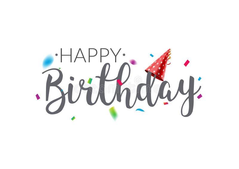 Cartaz do molde do projeto do vetor da tipografia do feliz aniversario Bandeira dos confetes do cartão para o aniversário ilustração stock