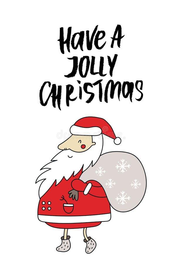 Cartaz do Natal e do ano novo com rotulação e a Santa tiradas mão com presentes ilustração do vetor das crianças ilustração do vetor