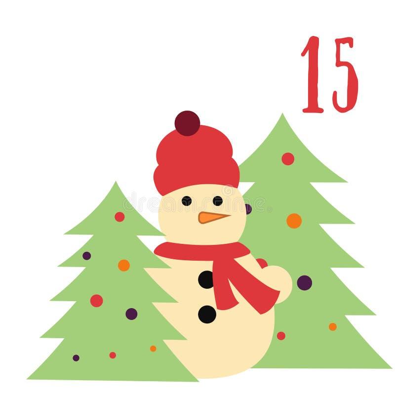 Cartaz do Natal Natal colorido Advent Calendar Contagem regressiva ao Natal 15 ilustração royalty free