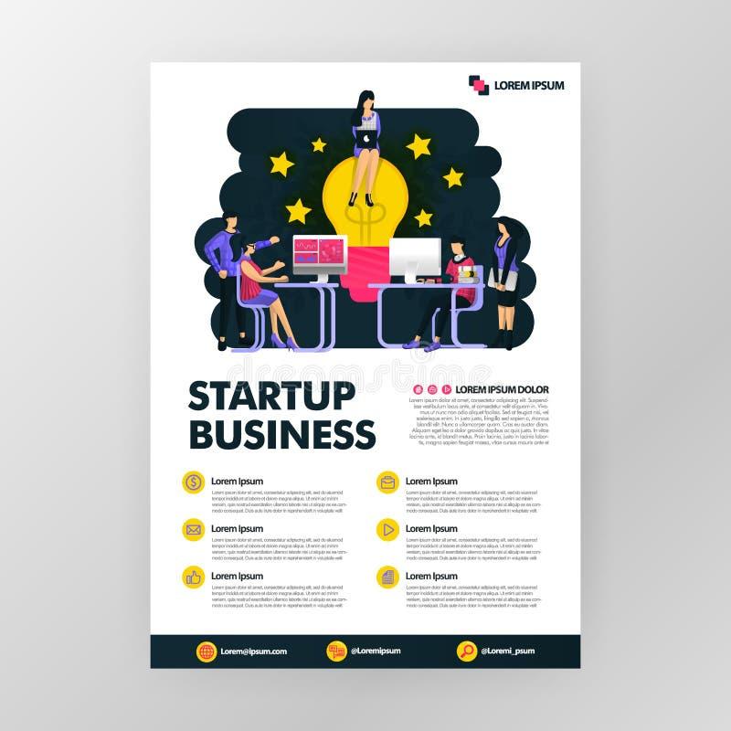 Cartaz do negócio para indústrias da tecnologia da partida Procurando ideias com assento na lâmpada Conceito da ilustração do vet ilustração stock
