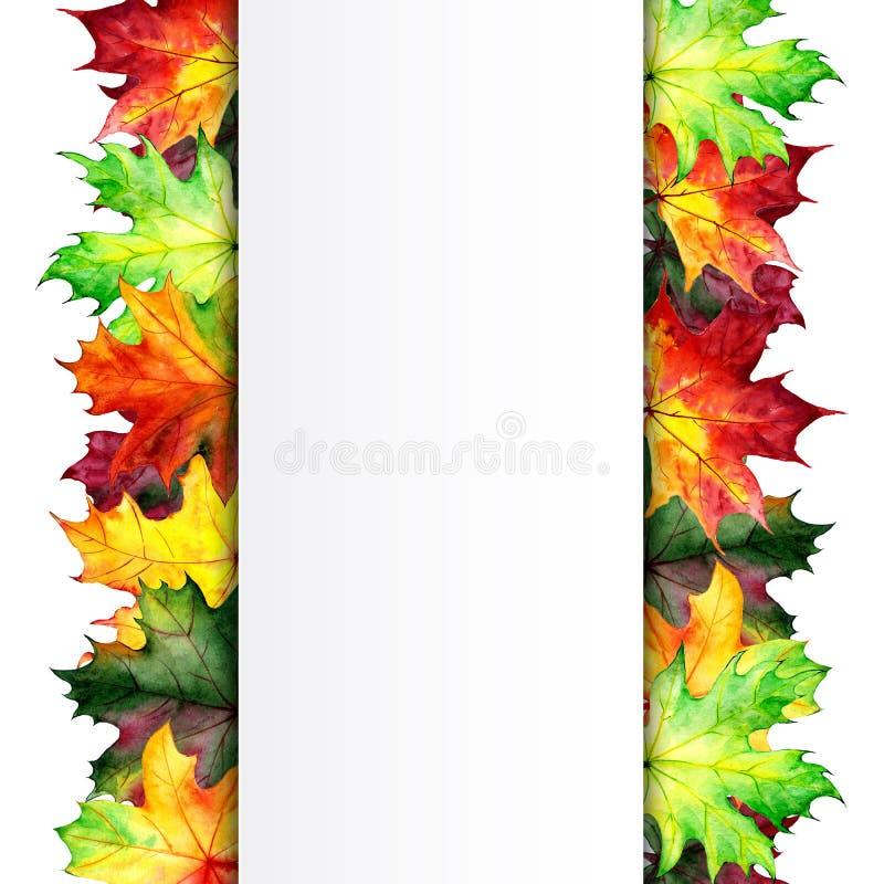 Cartaz do outono com folhas de bordo Projeto da aquarela para anunciar, bandeiras, insetos Lugar para o texto Copie o espa?o M?o ilustração stock