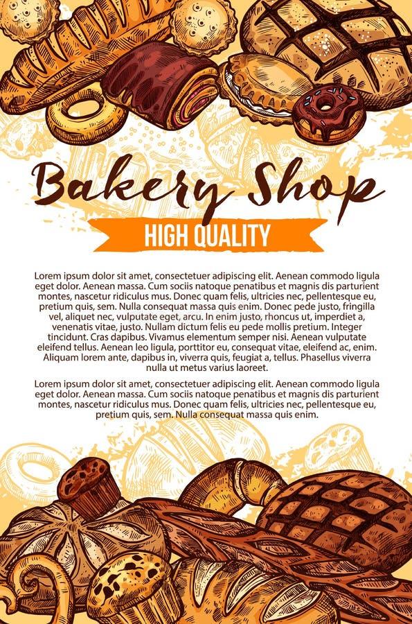Cartaz do pão do esboço do vetor para a loja da padaria ilustração do vetor