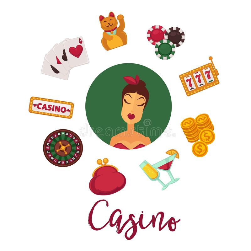 Cartaz do pôquer do casino de cartões de jogo dos ícones do vetor do jogo da roleta, de microplaquetas e de dados de jogo ilustração stock