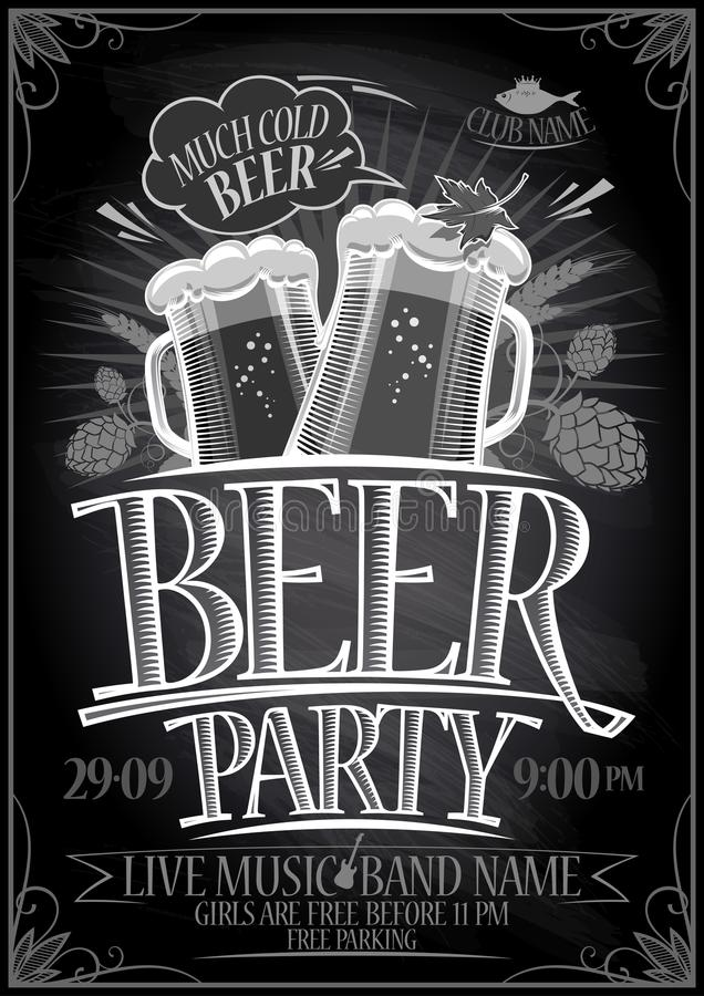 Cartaz do partido da cerveja do quadro ilustração do vetor