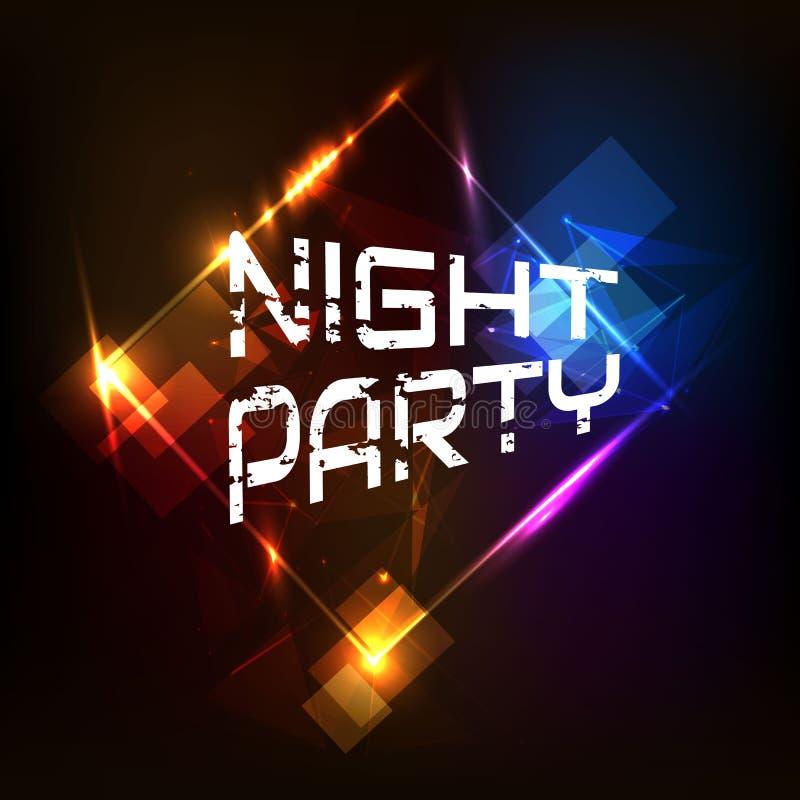 Cartaz do partido da noite, luz colorida ilustração royalty free