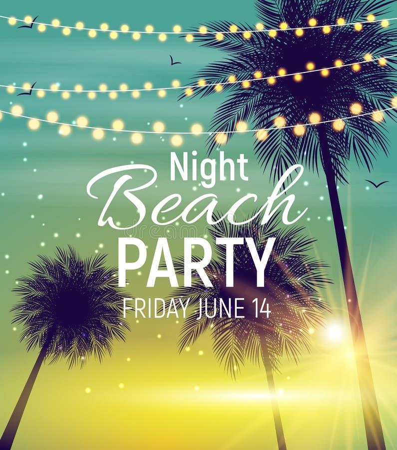 Cartaz do partido da praia da noite de verão Wi tropicais do fundo natural ilustração do vetor