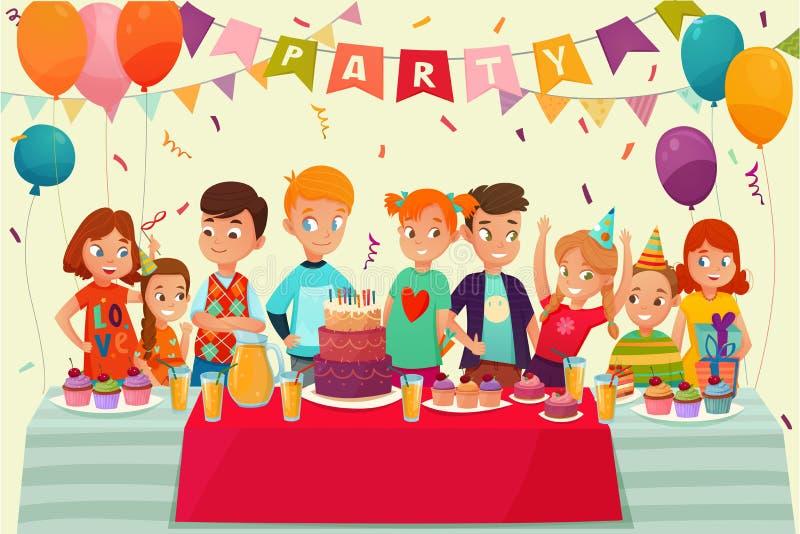 Cartaz do partido das crianças ilustração do vetor