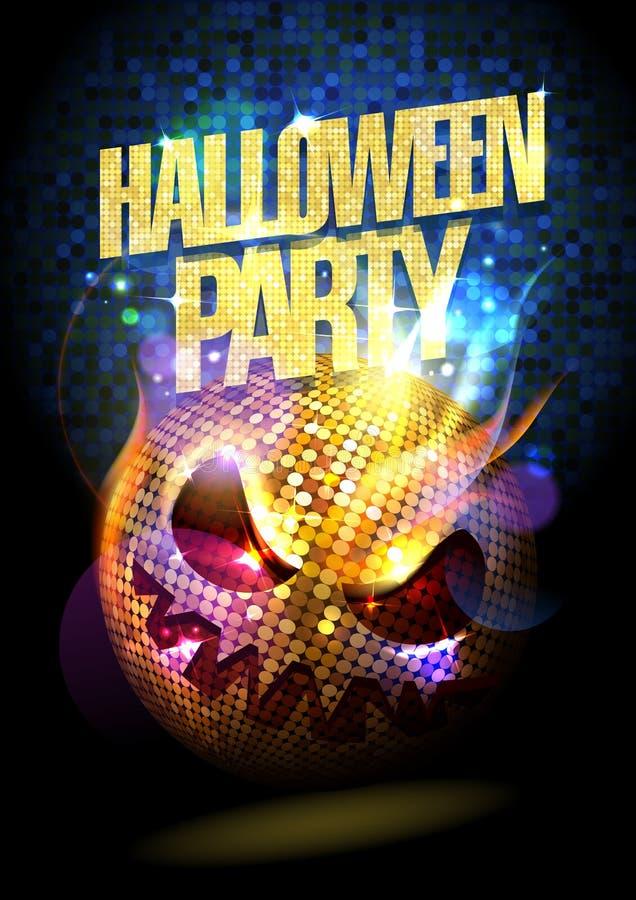 Cartaz do partido de Dia das Bruxas com bola do disco ilustração royalty free
