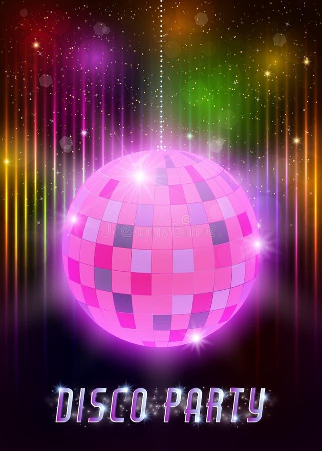 Cartaz do partido de disco com bola do espelho ilustração do vetor