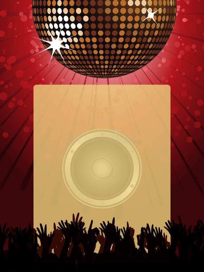 Cartaz do partido de disco com bola e multidão do disco ilustração royalty free