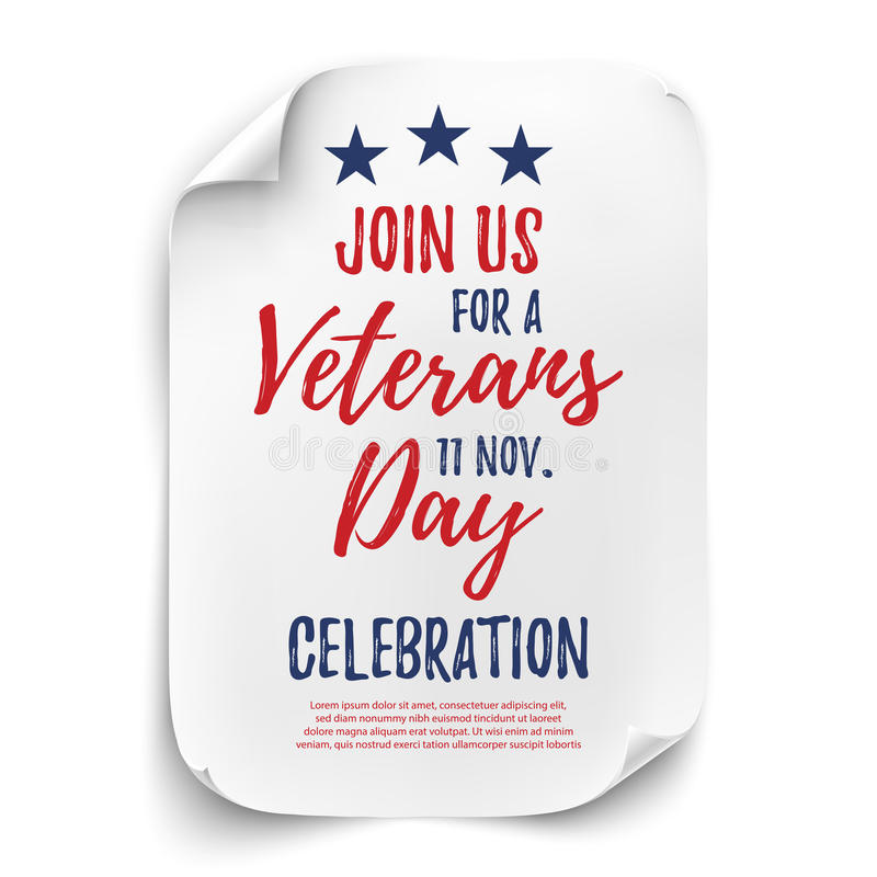 Cartaz do partido do dia de veteranos ilustração stock