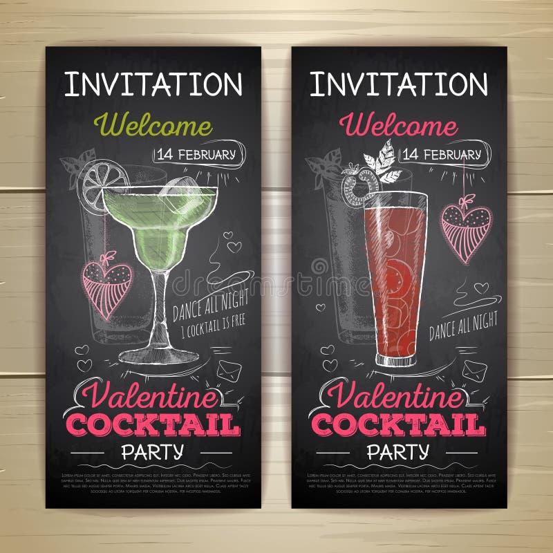 Cartaz do partido do Valentim do cocktail do desenho de giz ilustração do vetor