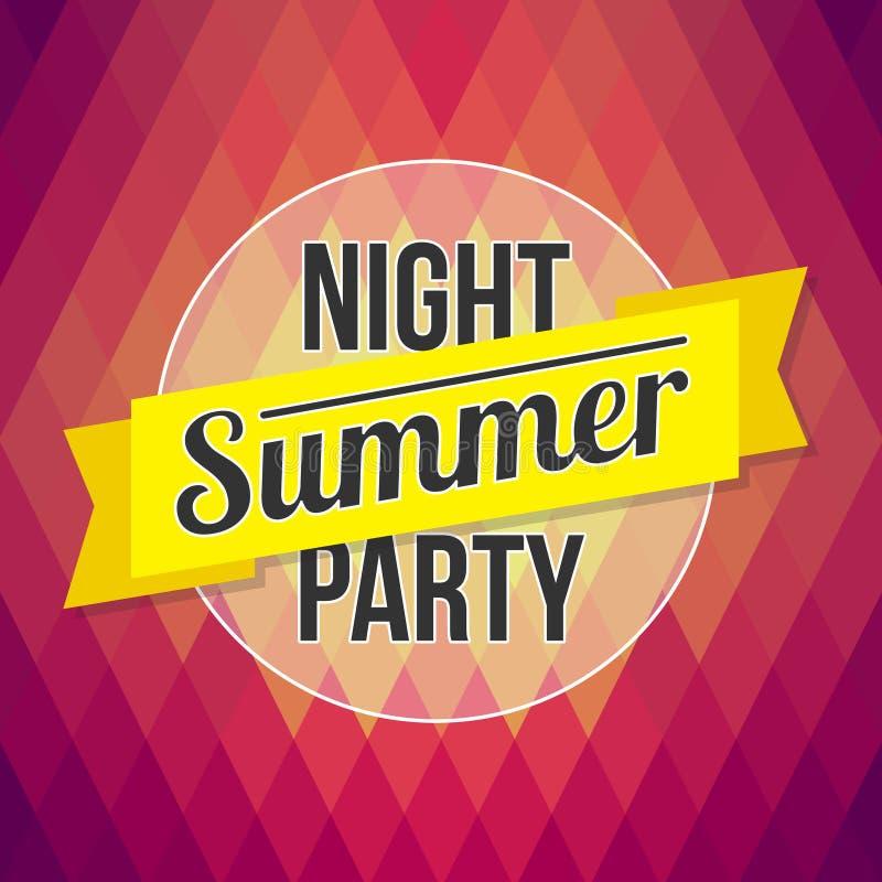 Cartaz do partido do verão Texto projetado no chiqueiro do polígono do fundo ilustração do vetor