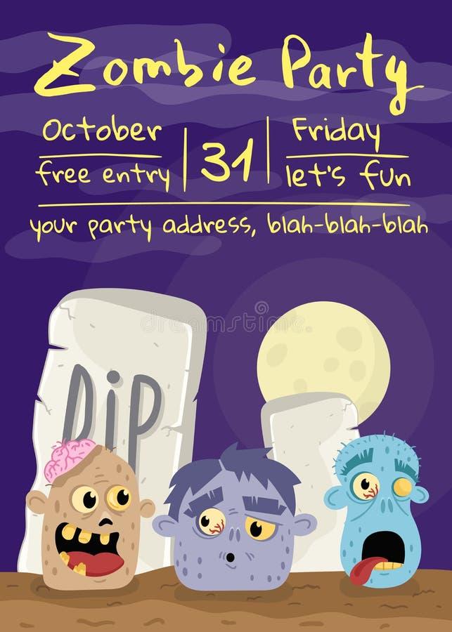 Cartaz do partido do zombi de Dia das Bruxas com cabeças do monstro ilustração royalty free