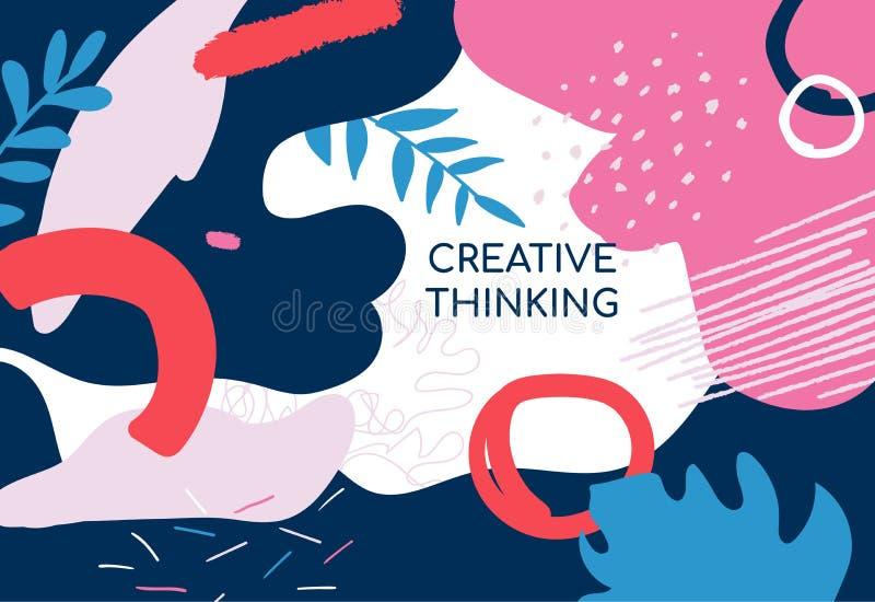 Cartaz do pensamento criativo - bandeira minimalistic do vetor moderno ilustração do vetor