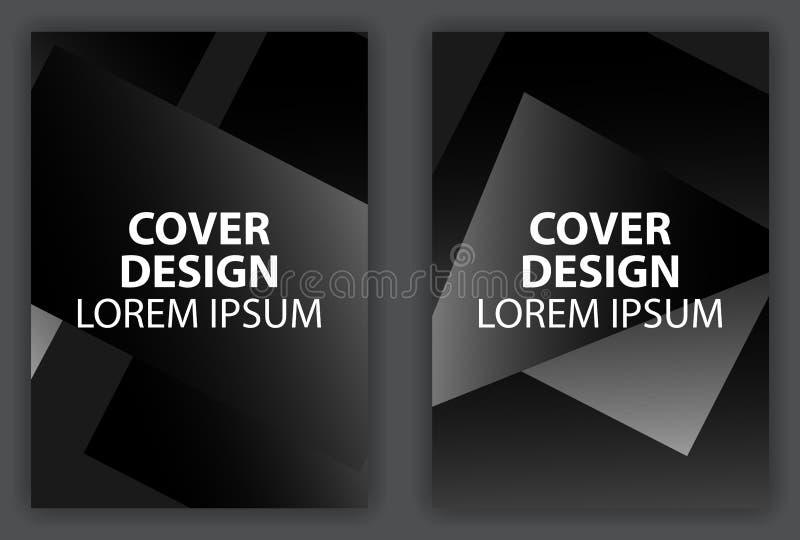 Cartaz do projeto da tampa com forma geométrica preto e branco Molde do projeto do folheto com inclinação Vetor ilustração do vetor