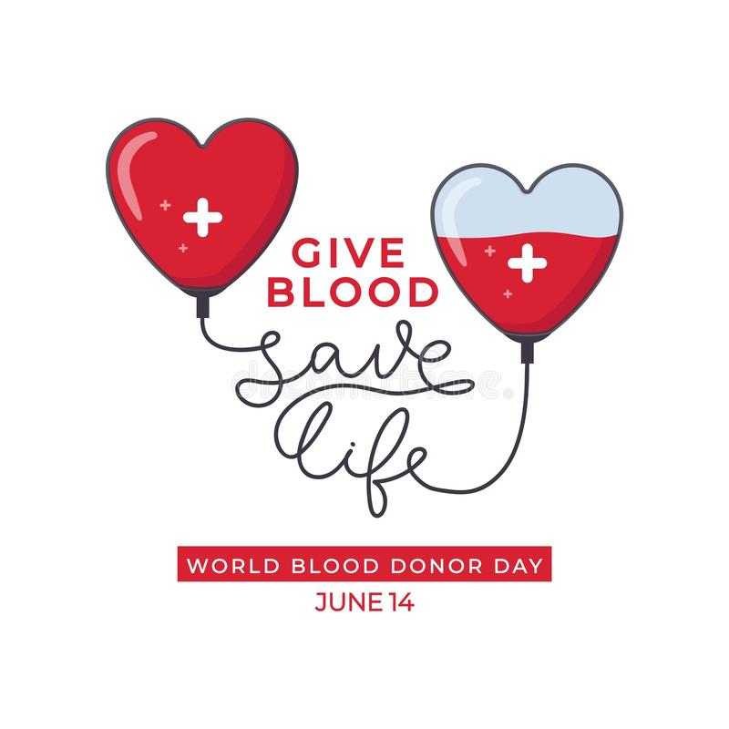 Cartaz do projeto do dia do doador de sangue do mundo ilustração stock