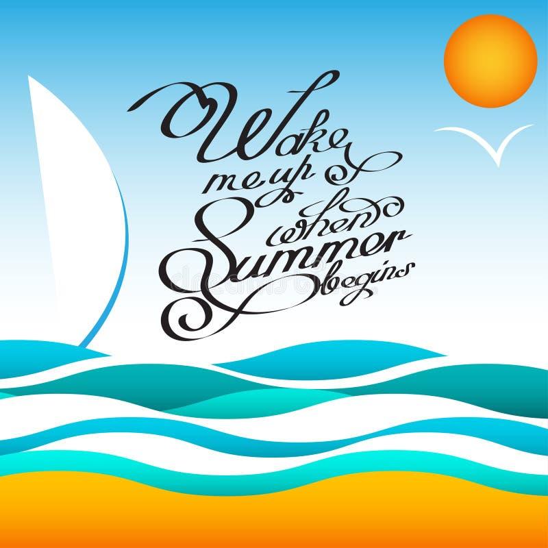 Cartaz do projeto do verão do estilo do vetor com sol e pássaros Caligrafia escrita à mão das citações Ilustração EPS10 do vetor  ilustração do vetor