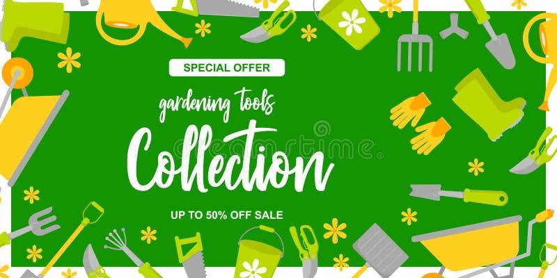 Cartaz do projeto do jardim com as ferramentas de jardinagem no fundo verde Oferta especial At? 50 fora da venda ilustração royalty free