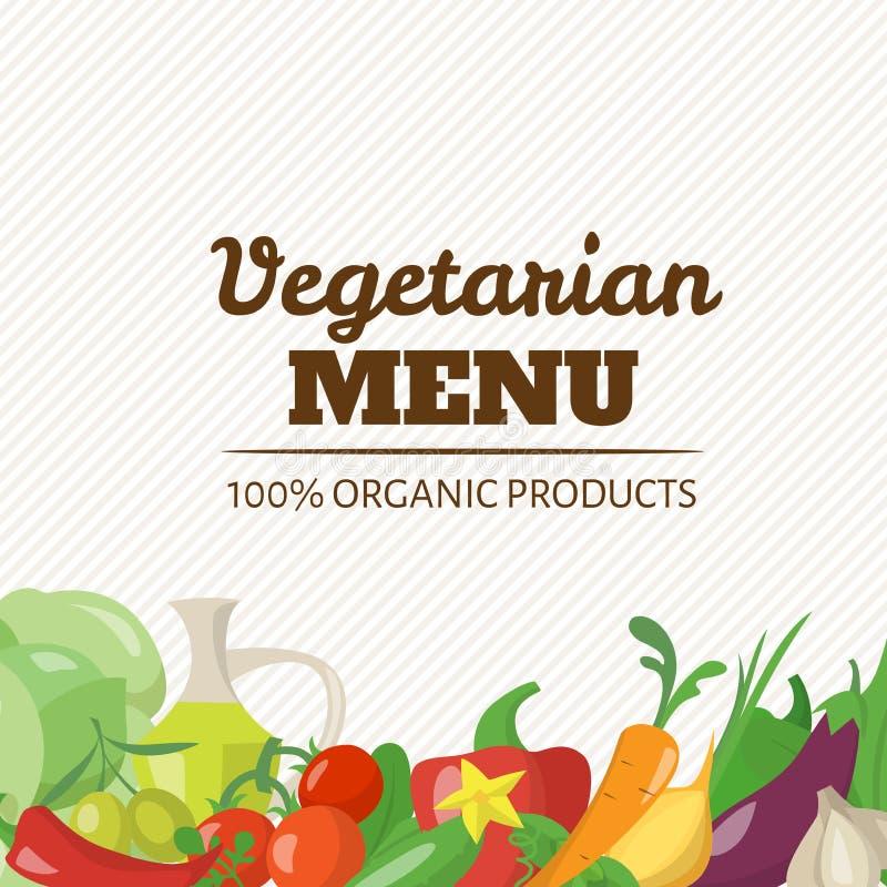 Cartaz do projeto do menu do vegetariano do vetor com alimento saudável ilustração stock