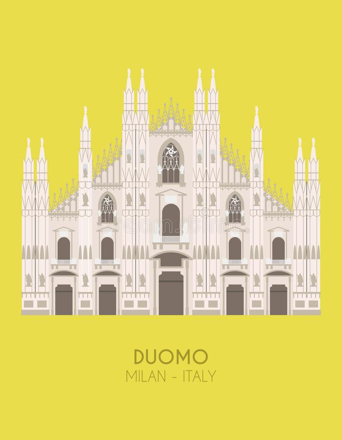 Cartaz do projeto moderno com fundo colorido de Milan Cathedral Milan, Itália ilustração do vetor
