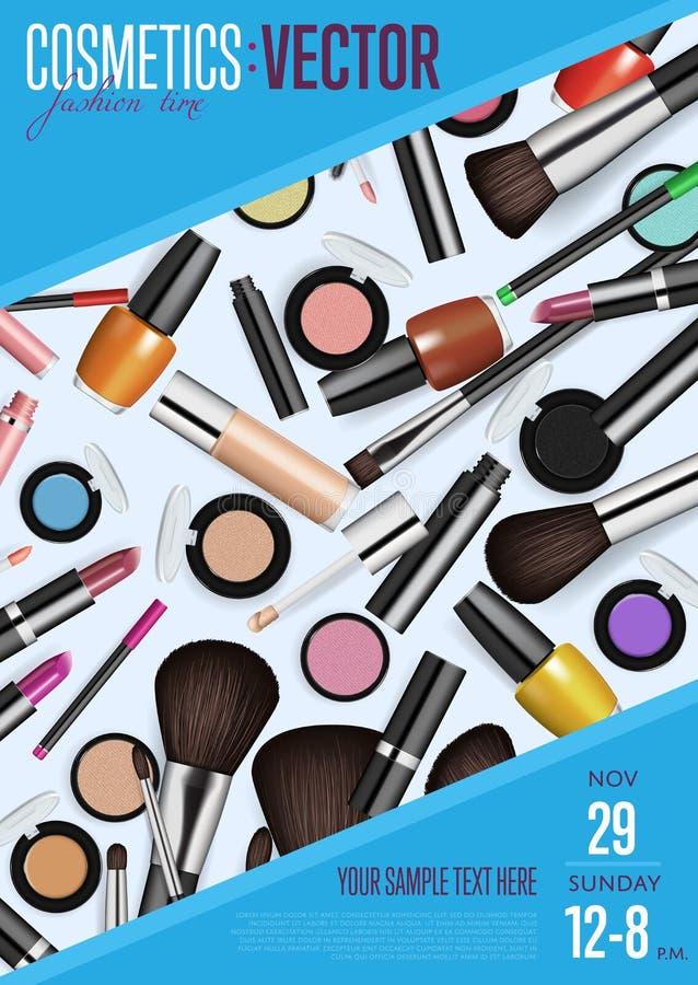 Cartaz do Promo do vetor dos cosméticos com data e hora ilustração do vetor