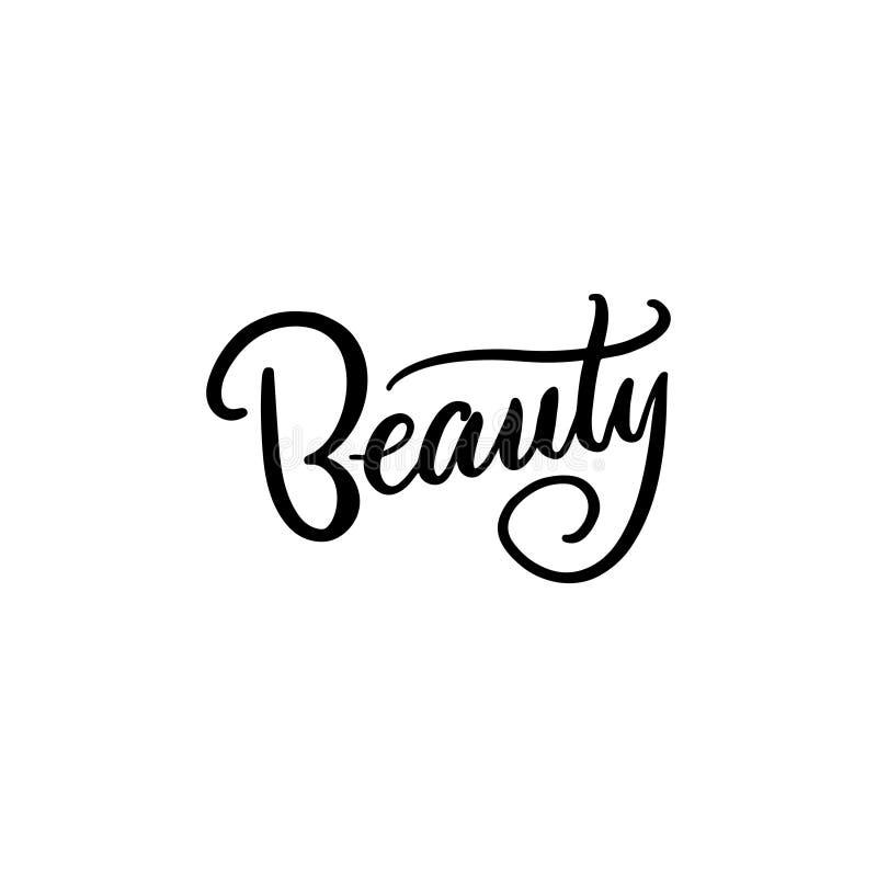Cartaz do quadrado da tipografia da beleza Rotula??o do vetor Frase para vales-oferta, scrapbooking, blogues da caligrafia da bel ilustração do vetor