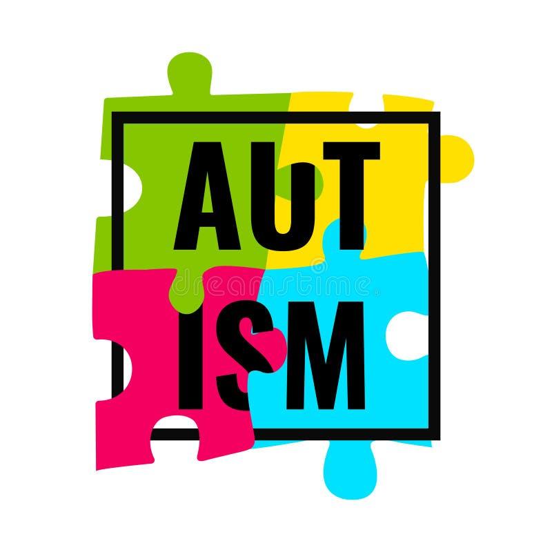 Cartaz do quadro da conscientização do autismo ilustração do vetor