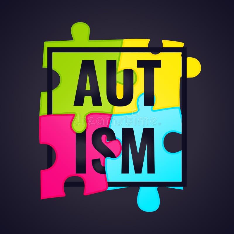 Cartaz do quadro da conscientização do autismo ilustração royalty free
