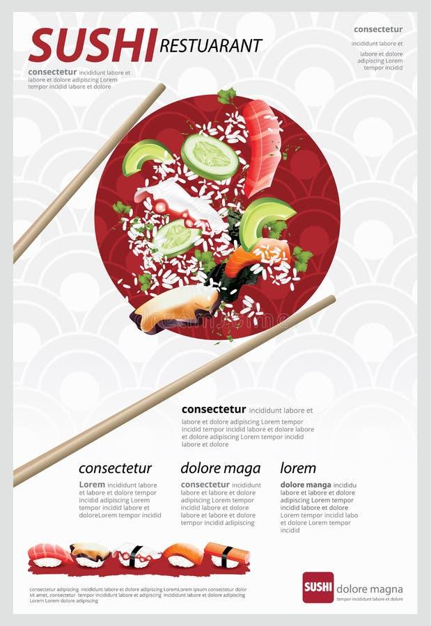 Cartaz do restaurante de sushi ilustração do vetor