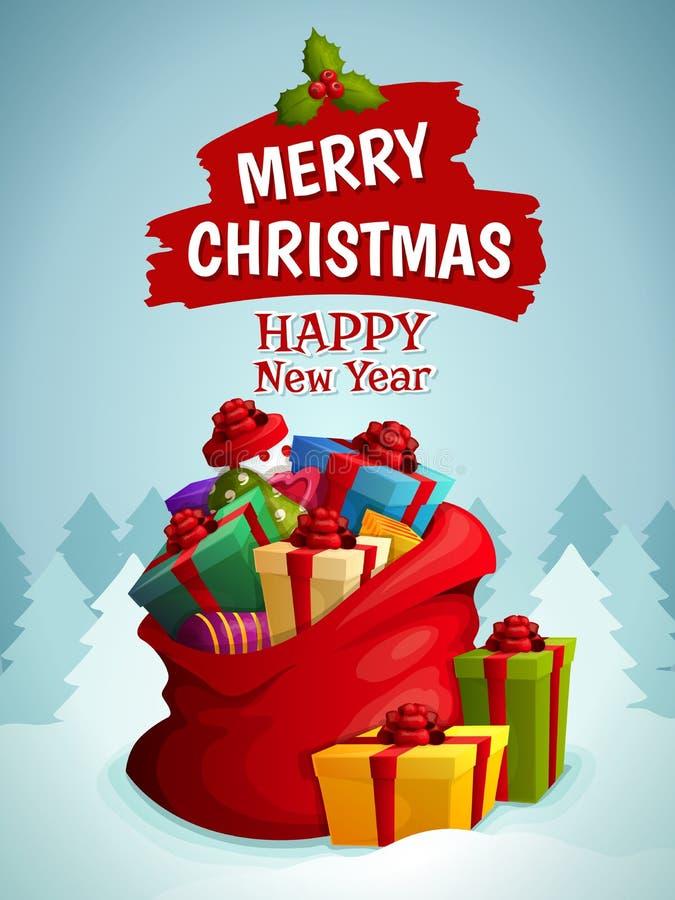 Cartaz do saco do Natal ilustração do vetor
