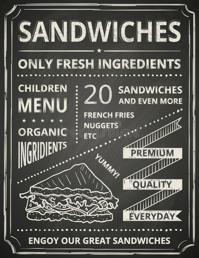 Cartaz do sanduíche ilustração stock