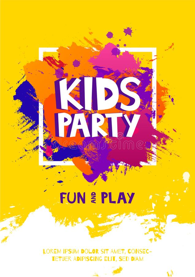 Cartaz do sinal da letra do partido das crianças As letras dos desenhos animados e espirram no fundo colorido da escova de pintur ilustração stock
