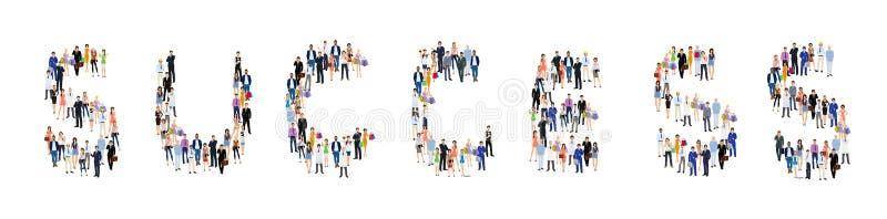 Cartaz do sucesso do grupo de pessoas ilustração stock