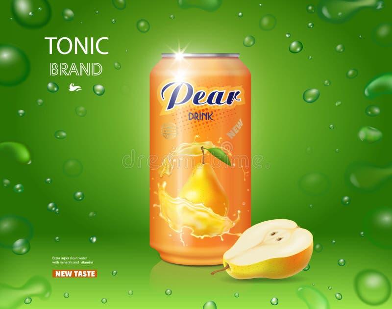 Cartaz do suco da pera Bebida da pera em um projeto da propaganda da lata ilustração royalty free