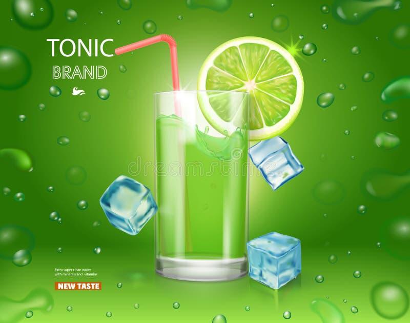 Cartaz do suco de lima com cubos de gelo Projeto da propaganda do cocktail de Mojito Bebida do tônico do citrino no fundo verde d ilustração stock
