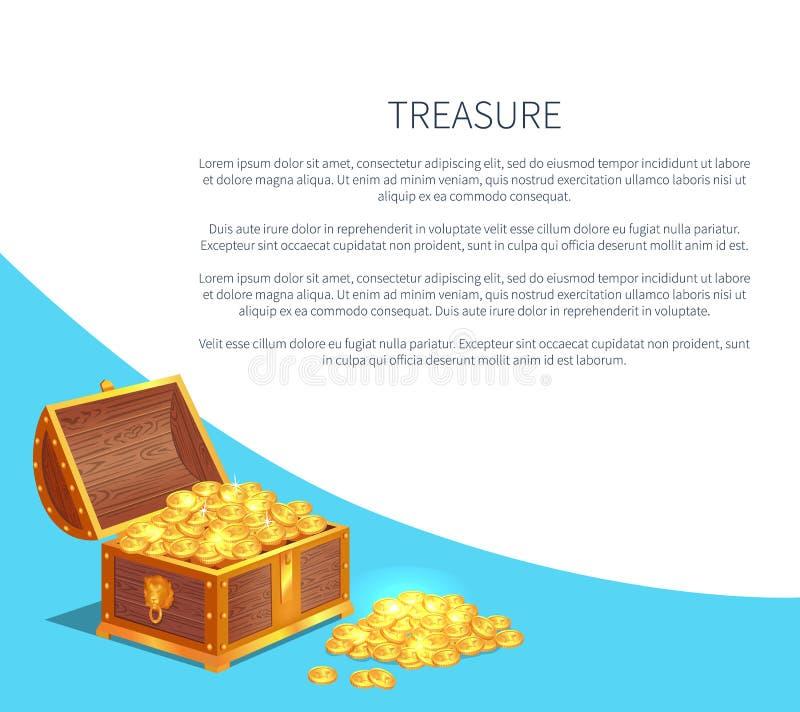 Cartaz do tesouro com as moedas antigas do ouro brilhante na caixa ilustração do vetor