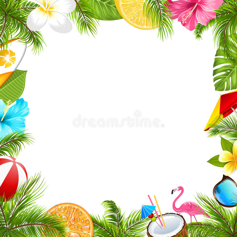 Cartaz do verão para o partido da praia do divertimento, hibiscus, flores do Frangipani, óculos de sol ilustração do vetor