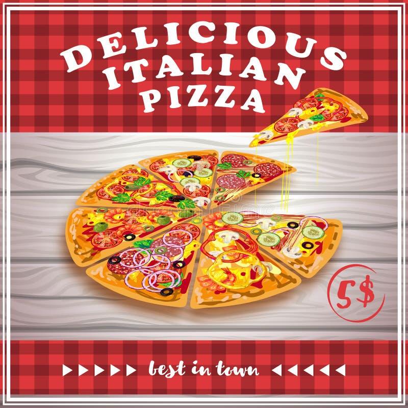 Cartaz do vermelho da pizza ilustração royalty free