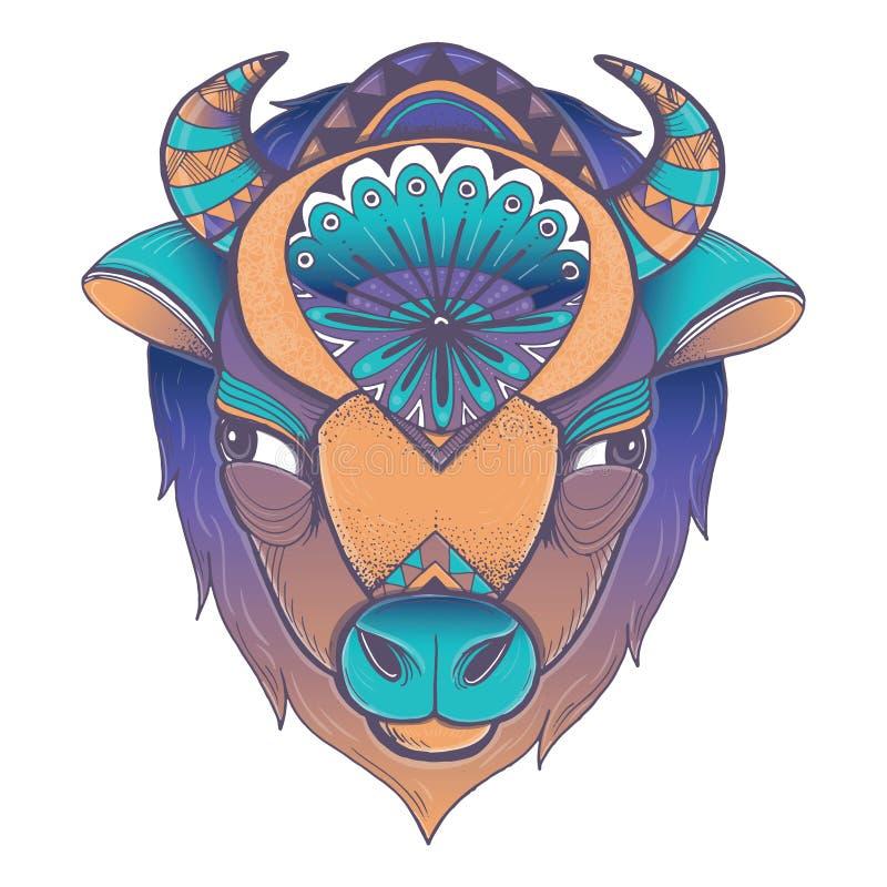 Cartaz do vetor com cabeça do bisonte ilustração stock