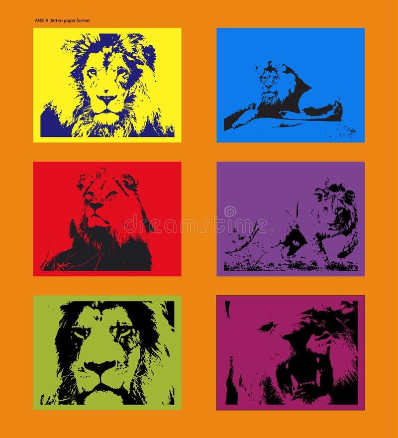 Cartaz do vetor com figuras seguidas do leão no estilo de Andy Warhol ilustração do vetor