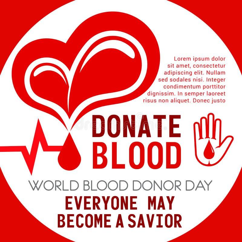 Cartaz do vetor da doação do coração e de sangue ilustração stock