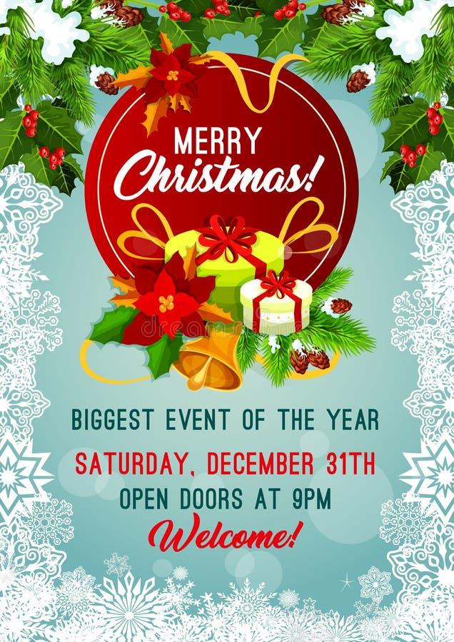 Cartaz do vetor da festa natalícia do Feliz Natal ilustração do vetor