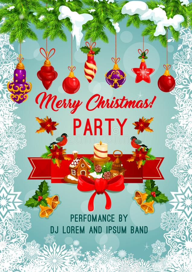Cartaz do vetor da festa natalícia do Feliz Natal ilustração royalty free